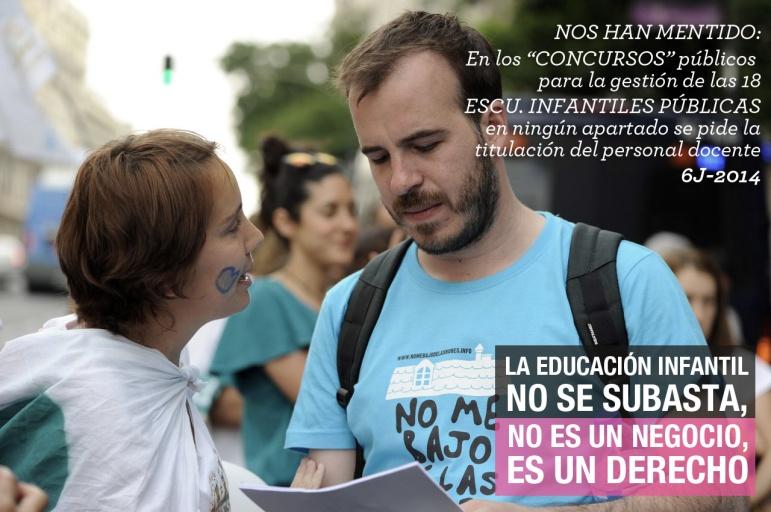 Familias y docentes en la concentración del #6J de 2014, enfrente de la consejería y el ministerio de educación en Madrid.